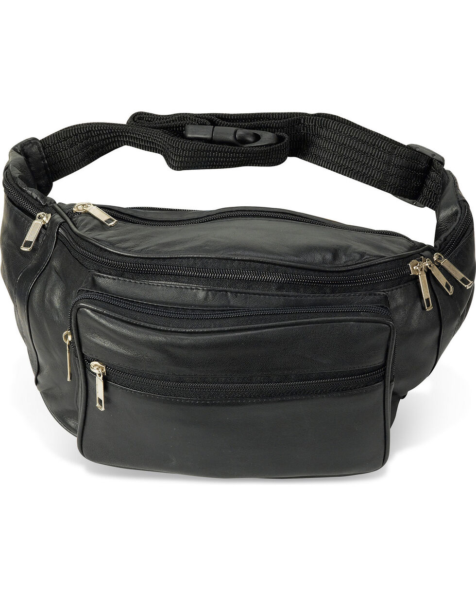 Western Express Men's Black Jumbo Leather Fanny Pack , Black, hi-res