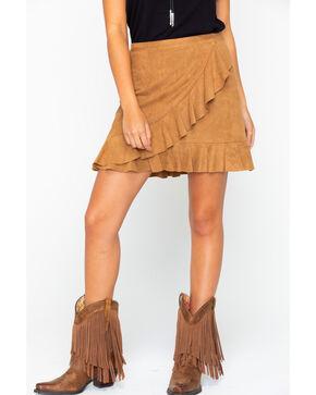 BB Dakota Women's Faux Suede Ruffle Wrap Skirt , Brown, hi-res