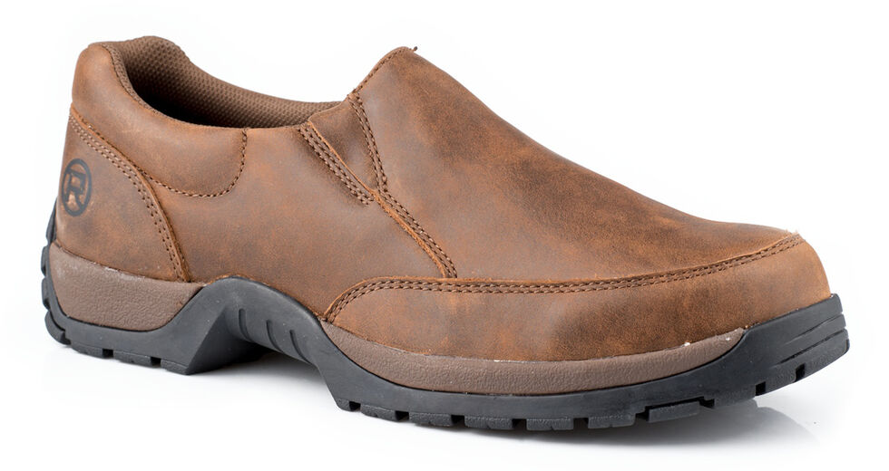 Roper Men's Canter Rider Button Slip-On Shoes, Brown, hi-res