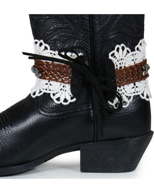 Shyanne Women's Arrow & Lace Boot Wraps , Brown, hi-res
