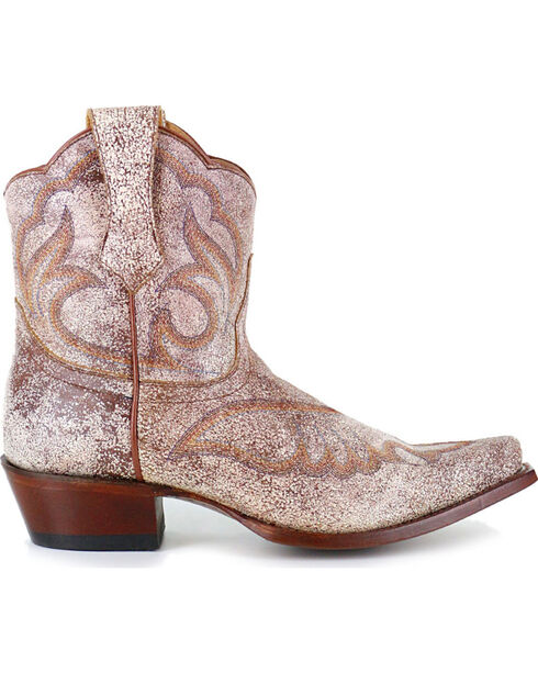Shyanne Women's Crackled Embroidered Booties - Snip Toe, Tan, hi-res