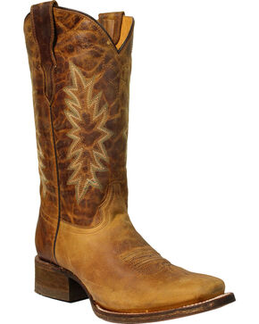 Coral Girls' Vintage Honey Cowgirl Boots - Square Toe, Honey, hi-res