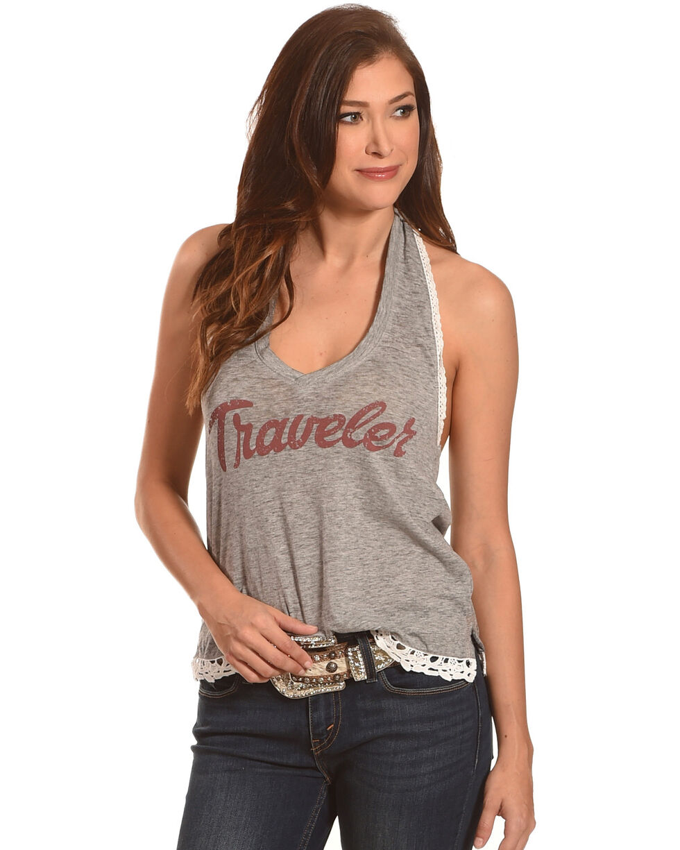 White Crow Women's Charcoal Traveler Graphic Halter Top , Charcoal, hi-res