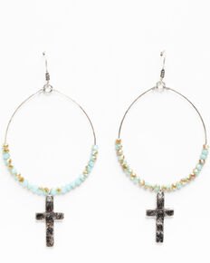 Shyanne Women's Hidden Treasure Wired Hoop Cross Earrings, Silver, hi-res