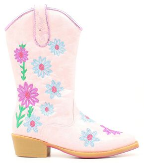 Blazin Roxx Girls' Daisy Floral Embroidered Cowgirl Boots - Snip Toe, Pink, hi-res