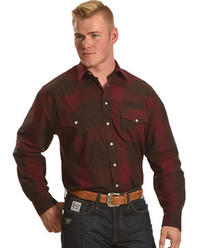 Resistol Men's Burgundy Jefferson Snap Down Shirt , Burgundy, hi-res