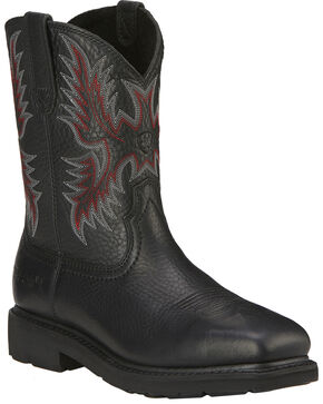 Ariat Men's Sierra Western Work Boots - Steel Toe, Black, hi-res