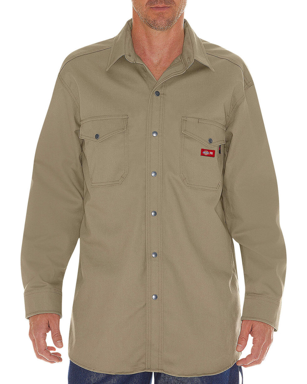 Dickies Men's Flame Resistant Long Sleeve Twill Snap Shirt - Big & Tall, Beige/khaki, hi-res