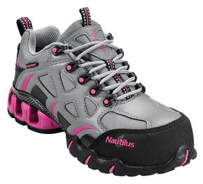 Nautilus Women's Grey and Pink Nylon Microfiber Athletic Work Shoes - Composite, Grey, hi-res