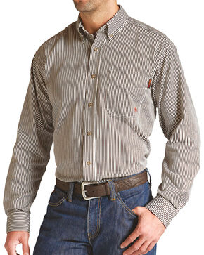 Ariat Men's Long Sleeve FR Work Shirt - Tall, Brown, hi-res