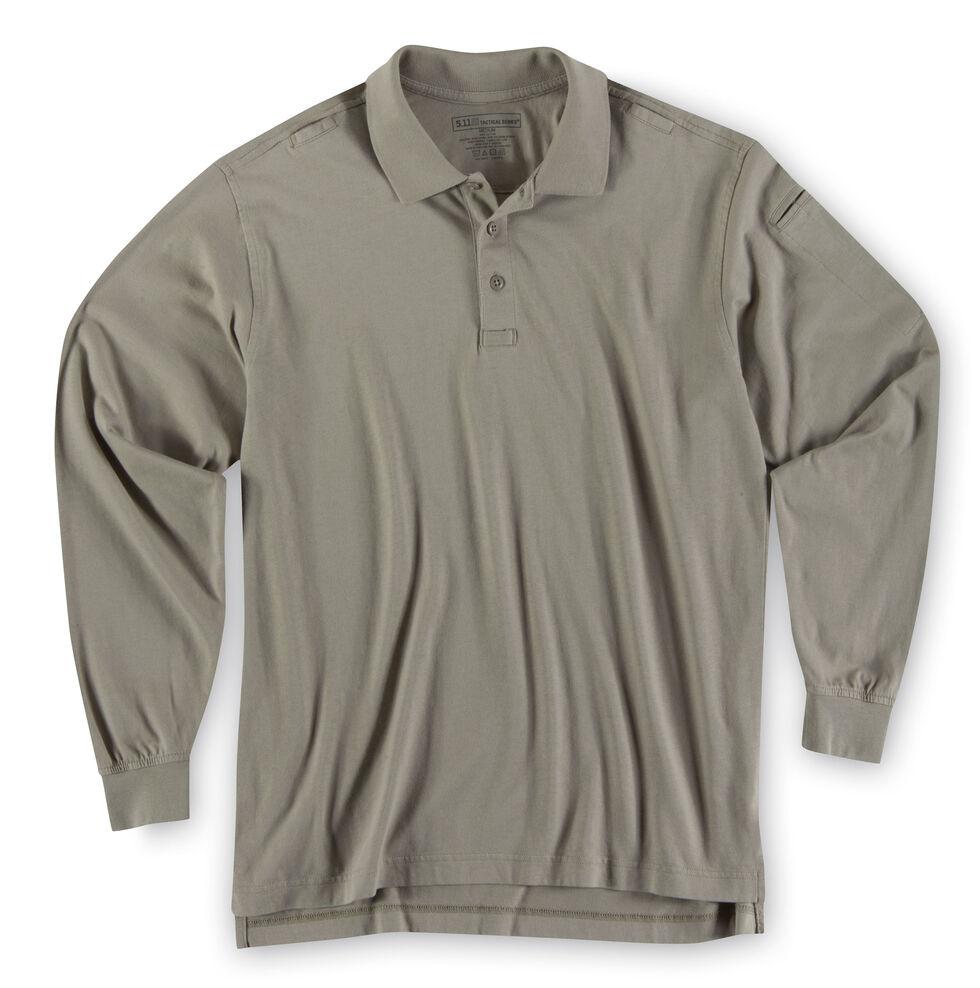 5.11 Tactical Jersey Long Sleeve Polo, Tan, hi-res