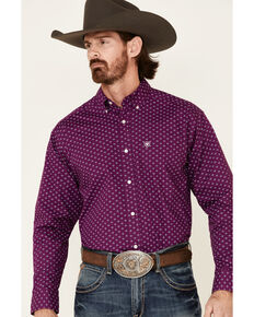 Ariat Men's Tuttle Geo Print Long Sleeve Western Shirt , Purple, hi-res