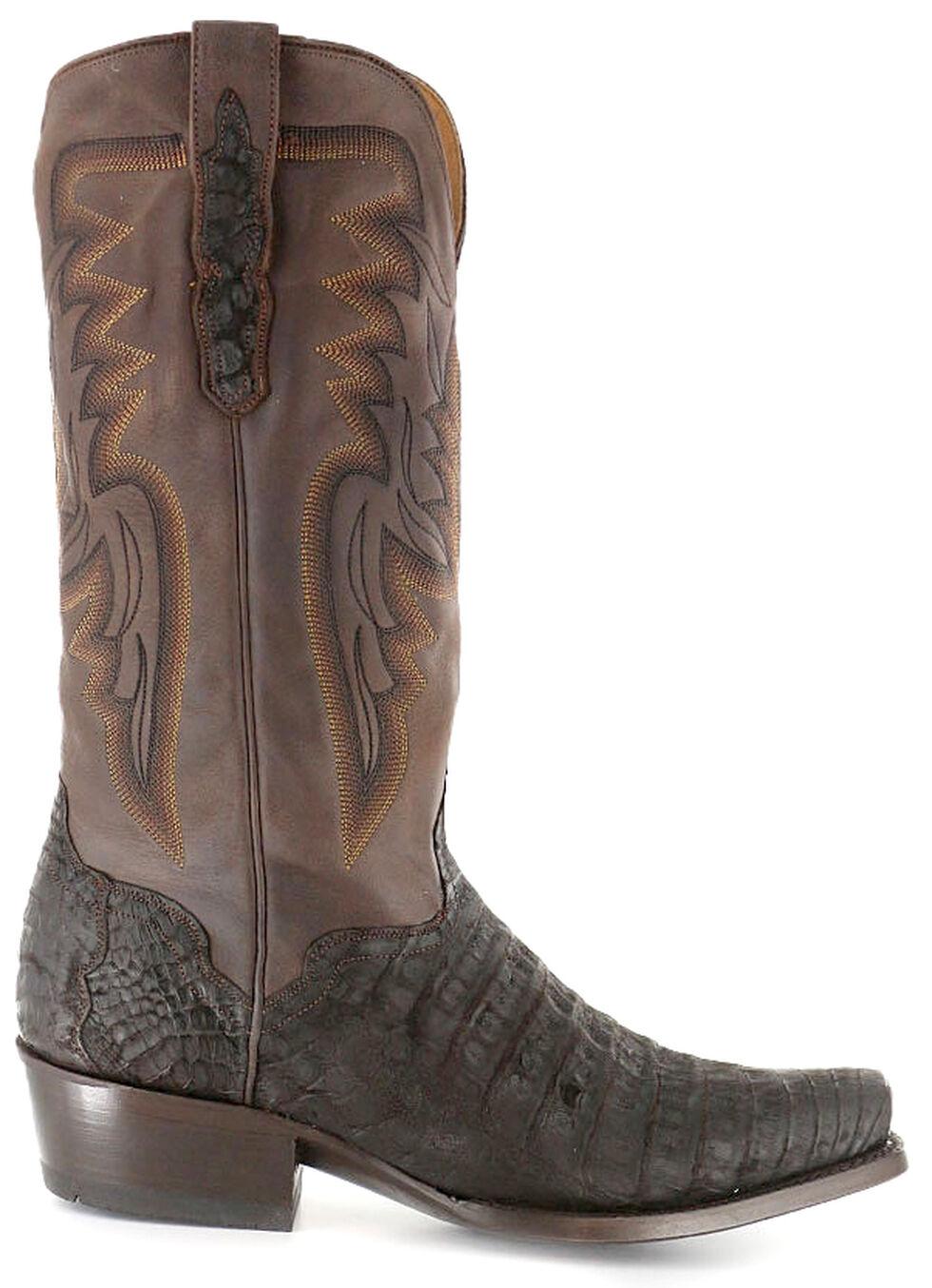 El Dorado Handmade Chocolate Caiman Belly Cowboy Boots - Square Toe, Chocolate, hi-res