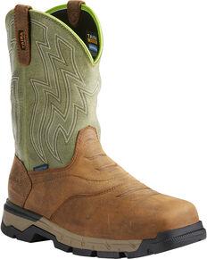 e4e722638b34b Ariat Mens Rebar Flex H2O Brown/Green Western Work Boots - Soft Toe, Tan