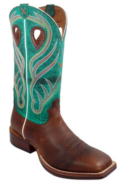 Twisted X Saddle Brown and Green Ruff Stock Cowboy Boots - Square Toe, Saddle Brown, hi-res