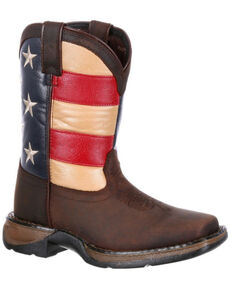 Durango Girls' Lil Rebel Big Kids' Flag Western Boots - Wide Square Toe, Dark Brown, hi-res