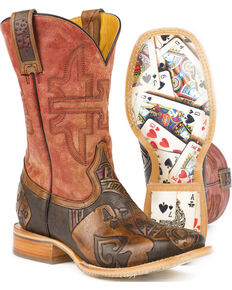 Tin Haul Men's The Gambler Card Shuffle Sole Cowboy Boots - Square Toe, Brown, hi-res