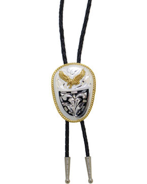Western Express German Silver Abalone Eagle Bolo Tie, Silver, hi-res
