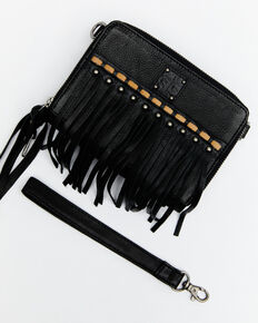 STS Ranchwear Women's Fringe Package Crossbody Bag, Black, hi-res