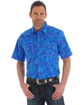 Wrangler Men's 20X Competition Blue Aztec Advanced Comfort Shirt , Blue, hi-res