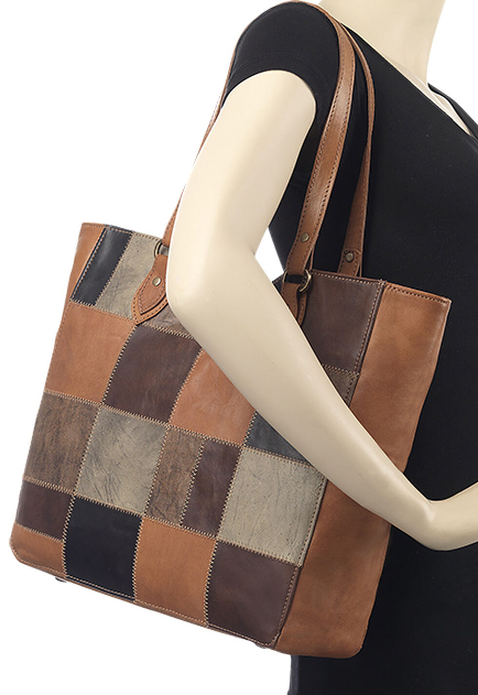 American West Tan Groovy Soul Large Zip Top Tote Bag , Tan, hi-res