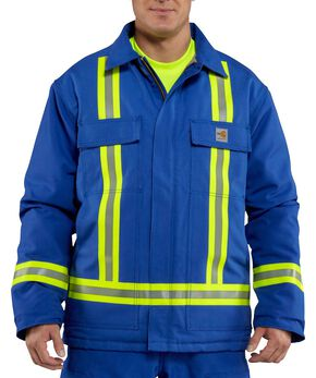 Carhartt Flame Resistant Reflective Quilt Lined Duck Coat - Big & Tall, Royal, hi-res