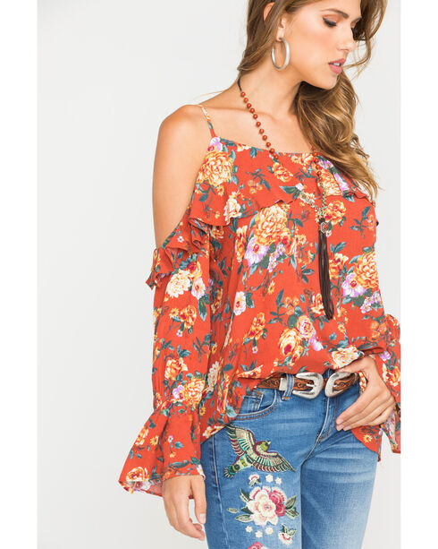 Miss Me Women's Rust Orange Floral Cold Shoulder Ruffle Sleeve Blouse, Rust Copper, hi-res