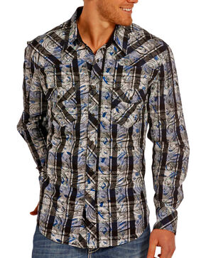 Rock & Roll Cowboy Men's Black Checkered Paisley Print Shirt , Black, hi-res