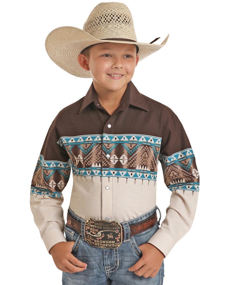 Panhandle Select Boys' Multi Aztec Scenic Border Print Long Sleeve Western Shirt , Multi, hi-res