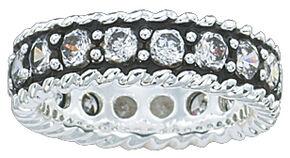 Montana Silversmiths Women's Crystal Shine Band Ring, Silver, hi-res