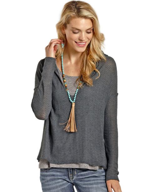 Rock & Roll Cowgirl Women's Grey Crochet Back Hoodie , Charcoal, hi-res