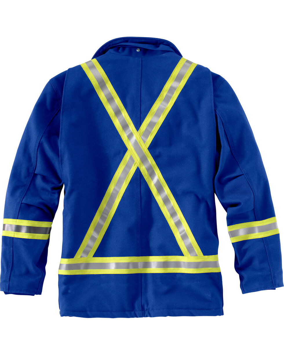 Carhartt Men's Blue Flame-Resistant Striped Duck Traditional Coat, Royal, hi-res