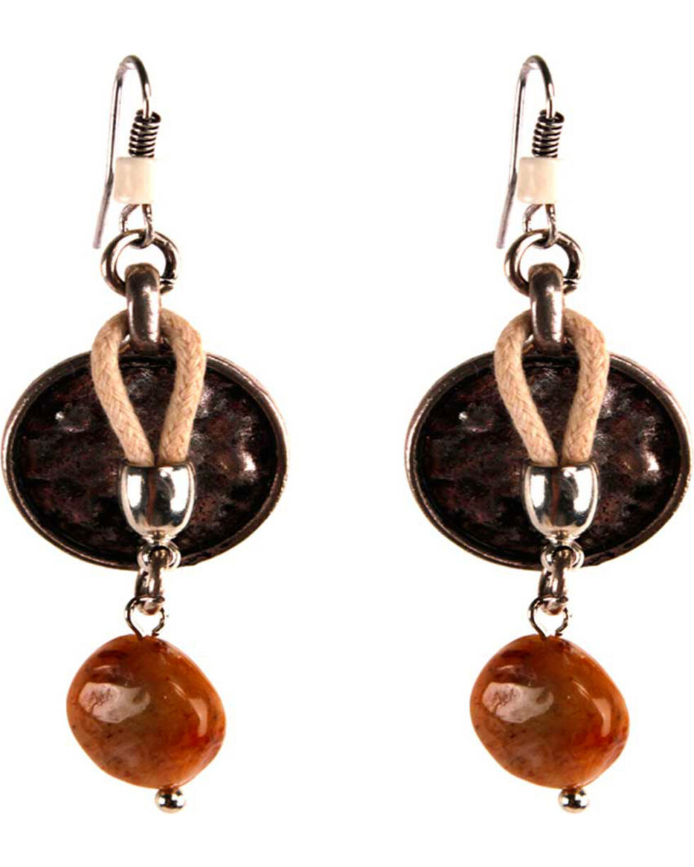 Treska Women's Tan Cord & Bead Drop Earrings , Tan, hi-res