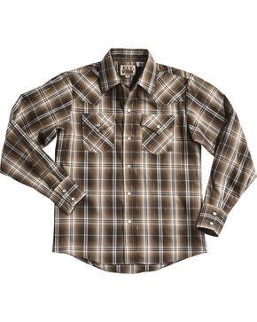 Ely Cattleman Boys' Lurex Plaid Long Sleeve Snap Shirt, Brown, hi-res