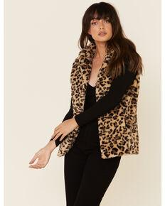 Cripple Creek Women's Multi Leopard Print Faux Fur Vest, Multi, hi-res