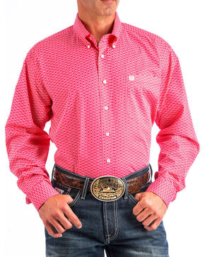 Cinch Men's Pink Patterned Long Sleeve Shirt , Pink, hi-res