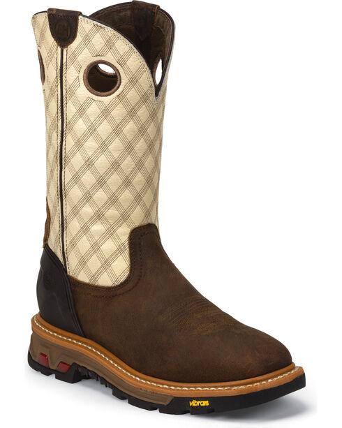 Justin Bone Commander Work Boots - Square Toe, Tan, hi-res