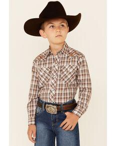 Roper Boys' Brown Plaid Long Sleeve Snap Western Shirt , Brown, hi-res