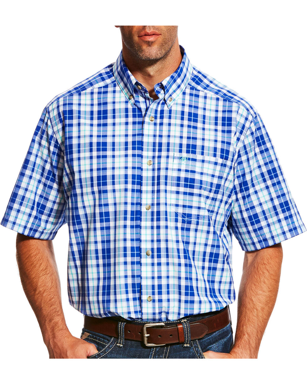 Ariat Men's Pro Series Moudy Plaid Short Sleeve Button Down Shirt - Big & Tall, White, hi-res