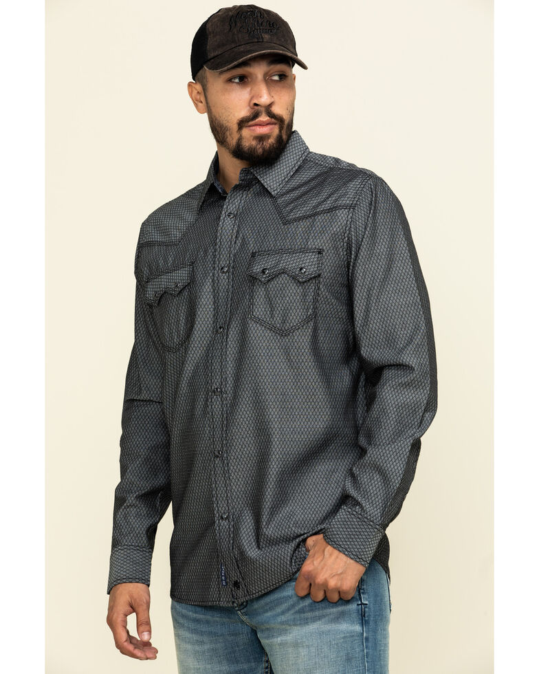 Moonshine Spirit Men's Cobra Geo Print Long Sleeve Western Shirt , Black, hi-res