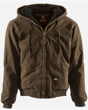 Berne Original Washed Hooded Jacket - Quilt Lined - 3XT and 4XT, Bark, hi-res