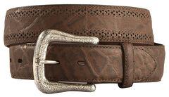 Ariat Elephant Print Leather Belt, Chocolate, hi-res