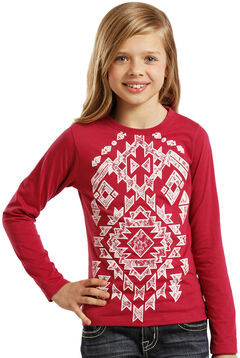 Rock & Roll Cowgirl Girls' Aztec Lace Tee, Red, hi-res