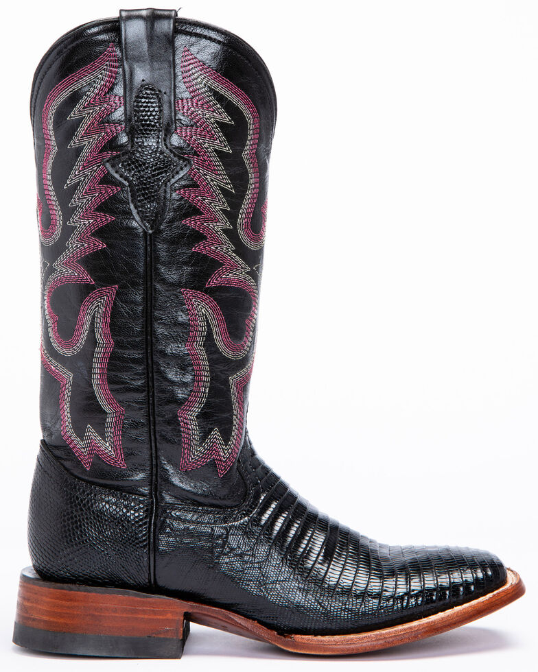 Ferrini Black Lizard Cowgirl Boots- Wide Square Toe, Black, hi-res