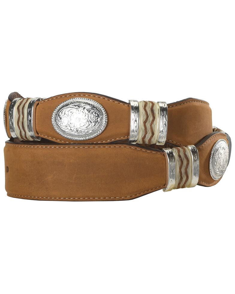 Tony Lama Scalloped Leather Belt, Brown, hi-res