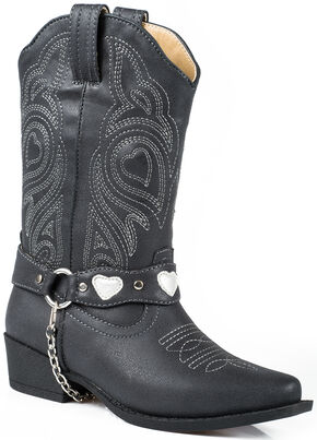 Roper Youth Girls' Black Harness Cowgirl Boots - Round Toe , Black, hi-res