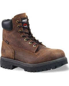 "Timberland PRO Men's Direct Attach 6"" Waterproof Work Boots - Soft Toe, Dark Brown, hi-res"
