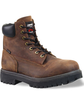 "Timberland PRO Men's Direct Attach 6"" Waterproof Work Boots - Soft Toe, Dark Brown, hi-res"