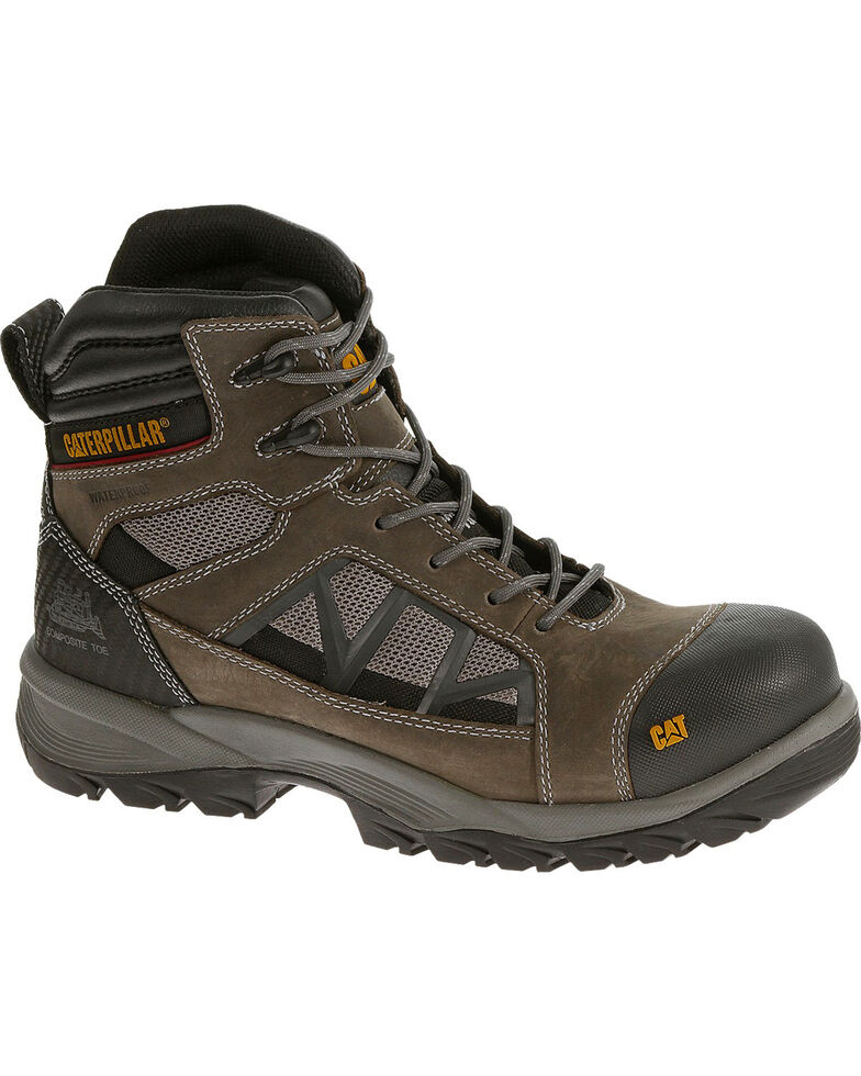 "Caterpillar Men's Compressor 6"" Waterproof Work Boots - Soft Toe , Grey, hi-res"
