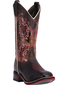 Laredo Isla Cowgirl Boots - Square Toe , Brown, hi-res